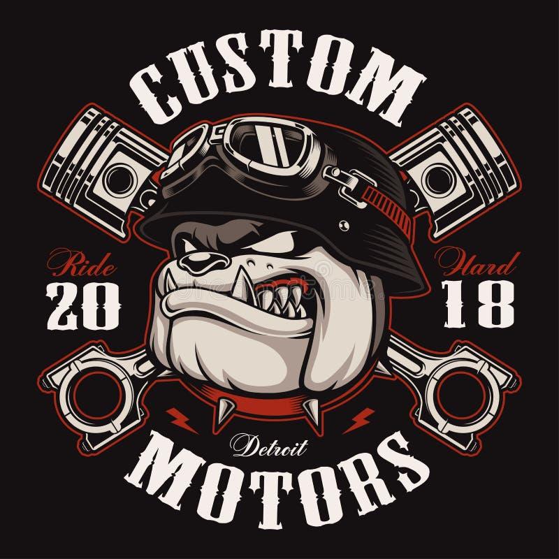 För t-skjorta för cyklistbulldoggcyklist version för färg design royaltyfri illustrationer
