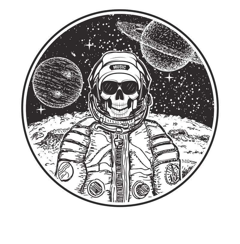 För t-skjorta för vektor för astronautmusikskalle modern mall design stock illustrationer