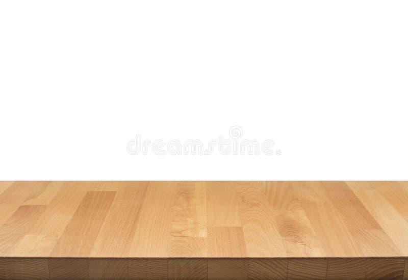 För tabellöverkant för verklig natur wood textur på vit bakgrund arkivbilder