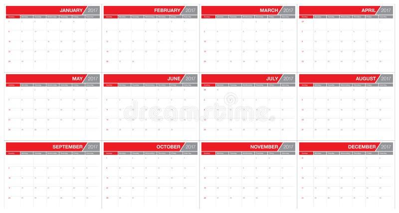 För tabellkalender för år 2017 mall för design för vektor royaltyfri illustrationer