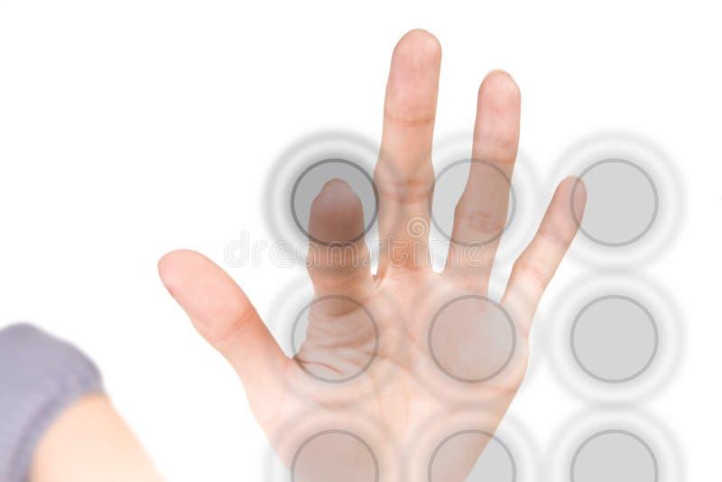 för tangentbordssäkerhet för blank knapp faktisk hög tech royaltyfria foton