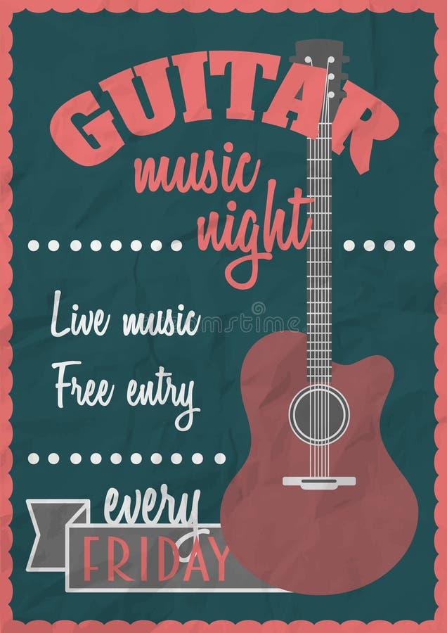För tappningaffisch för vektor retro begrepp med den akustiska gitarren Vagga konsertdesignmallen royaltyfri illustrationer