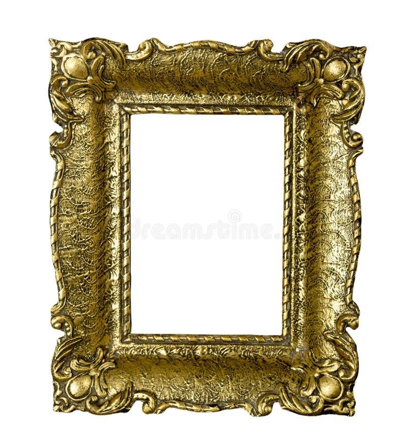 För tappningbild för gammal guld som ram isoleras på vit arkivbild