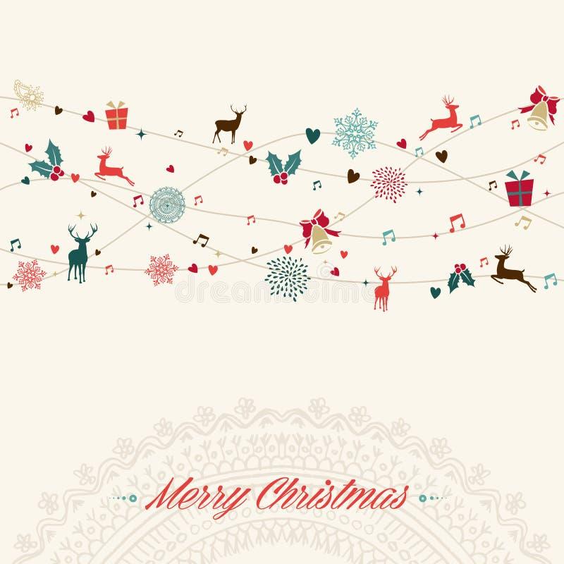 För tappninggirland för glad jul kort royaltyfri illustrationer