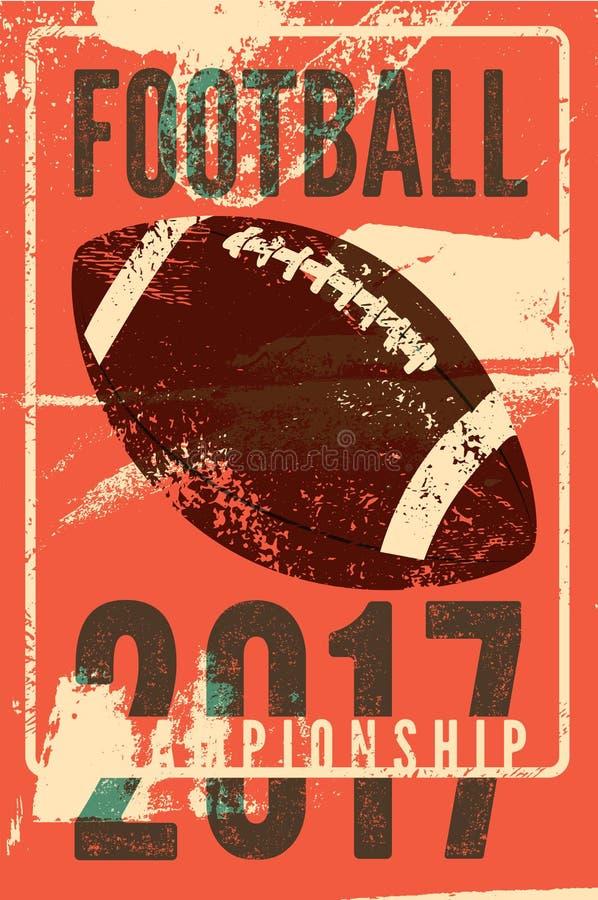 För tappninggrunge för amerikansk fotboll typografisk affisch för stil retro vektor för illustration vektor illustrationer
