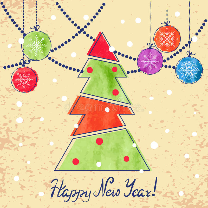 För tappningkort för lyckligt nytt år design med vattenfärgbollar och granträdet stock illustrationer