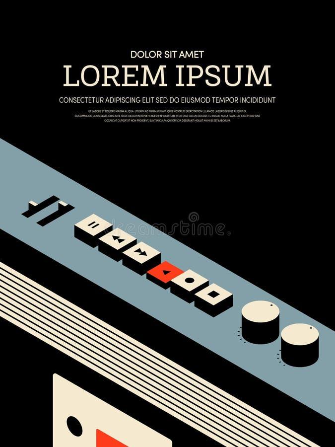 För tappningradio för musik retro bakgrund för affisch för mall för affisch royaltyfri illustrationer