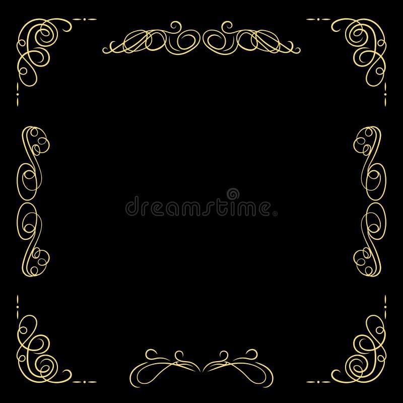 För tappningram för vektor guld- mall, svart bakgrund och guldfiligranSwirly linjer, Calligraphic designbeståndsdelar stock illustrationer