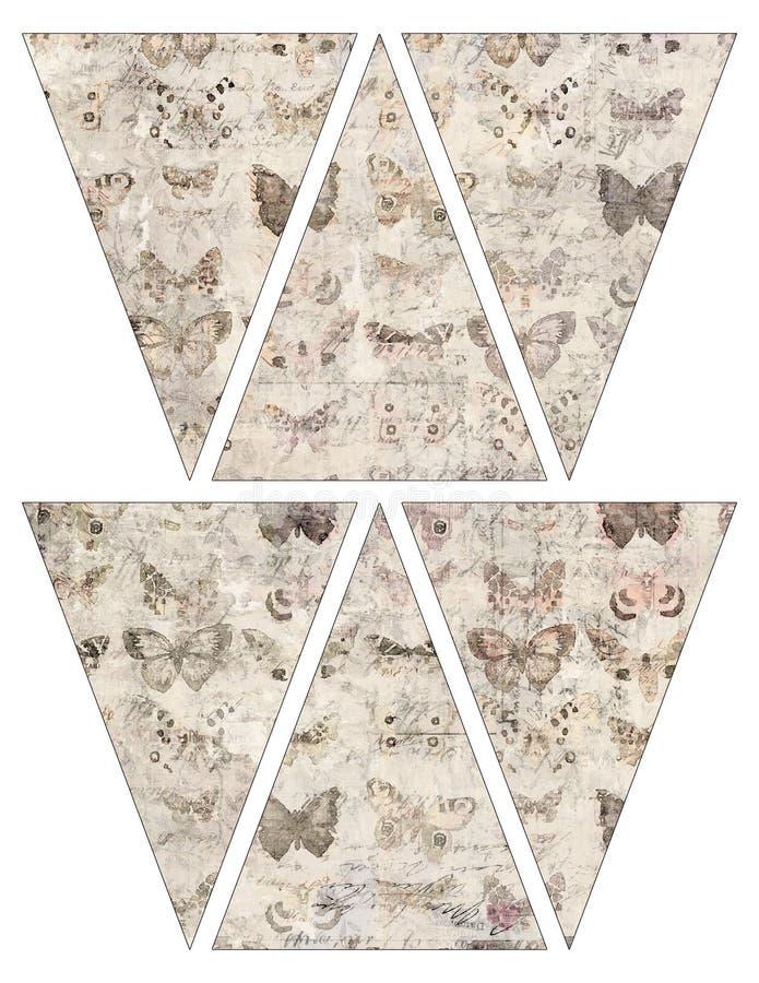För tappningstil för DIY sjunker den tryckbara girlanden för bunting för banret med fjärilar stock illustrationer
