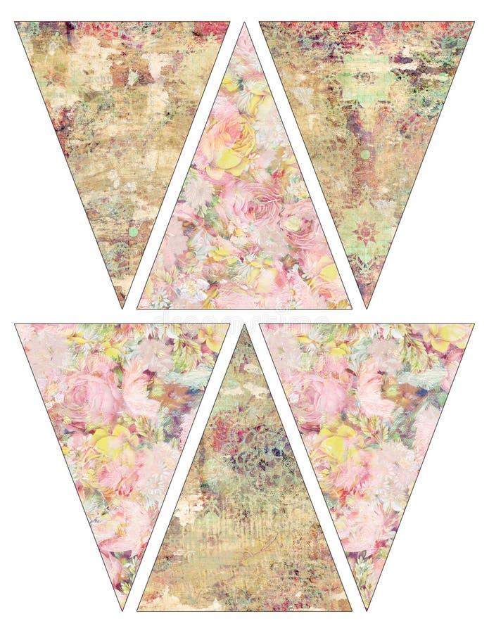 För tappningstil för DIY sjunker den tryckbara sjaskiga chic girlanden för bunting för banret med tappningrosa färger och gula ro stock illustrationer