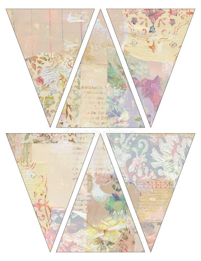 För tappningstil för DIY tryckbara flaggor för girland för bunting för baner med den collaged tappningtapeten vektor illustrationer