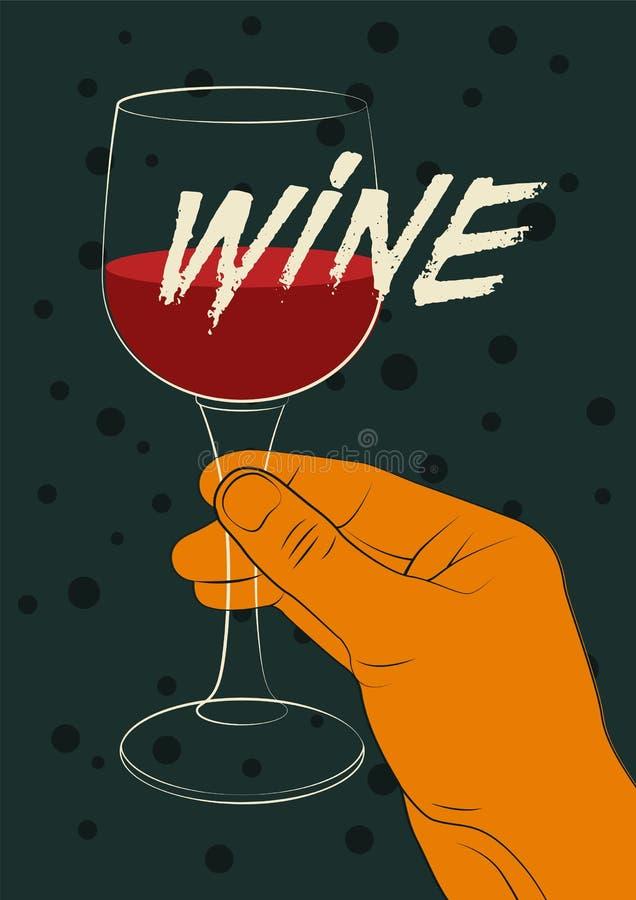 För tappningstil för vin typografisk design för affisch Hand som rymmer ett exponeringsglas av vin retro vektor för illustration vektor illustrationer