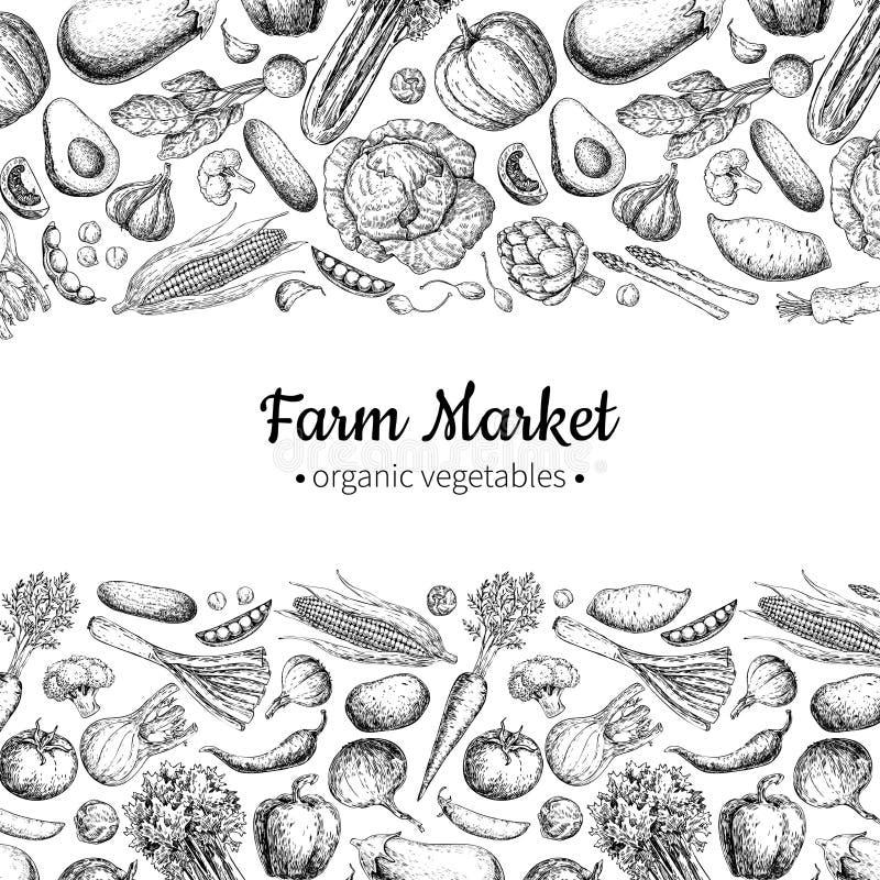 För tappningvektor för grönsak hand dragen illustration Lantgårdmarknadsaffisch Vegetarianuppsättning av organiska produkter royaltyfria foton