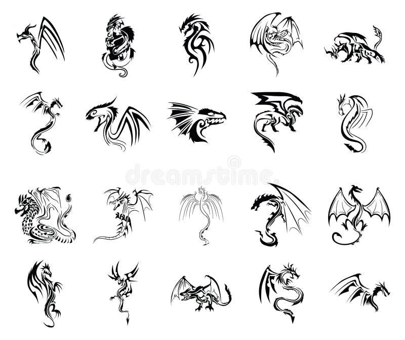För tatueringvektor för drake stam- uppsättning stock illustrationer