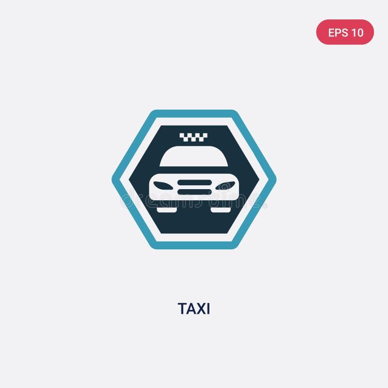 För taxivektor för två färg symbol från teckenbegrepp det isolerade blåa symbolet för taxivektortecknet kan vara bruk för rengöri stock illustrationer