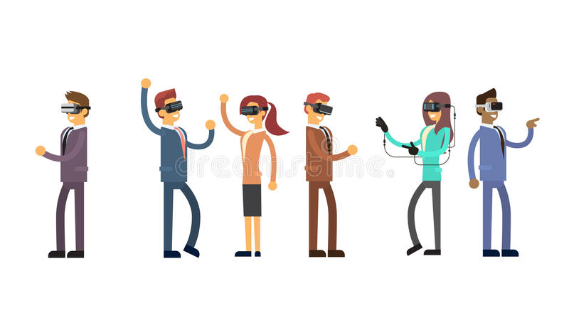 För Team Wear Virtual Reality Digital för grupp för affärsfolk hörlurar med mikrofon exponeringsglas stock illustrationer