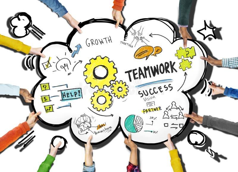 För teamwork som samarbetsfolk tillsammans rymmer molnbegrepp royaltyfri illustrationer