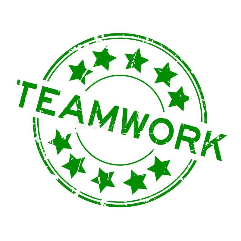 För teamworkord för Grunge grön stämpel för gummi för runda på vit bakgrund stock illustrationer