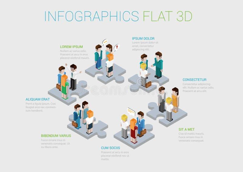 För teamworksamarbete för plan isometrisk rengöringsduk 3d infographic begrepp stock illustrationer