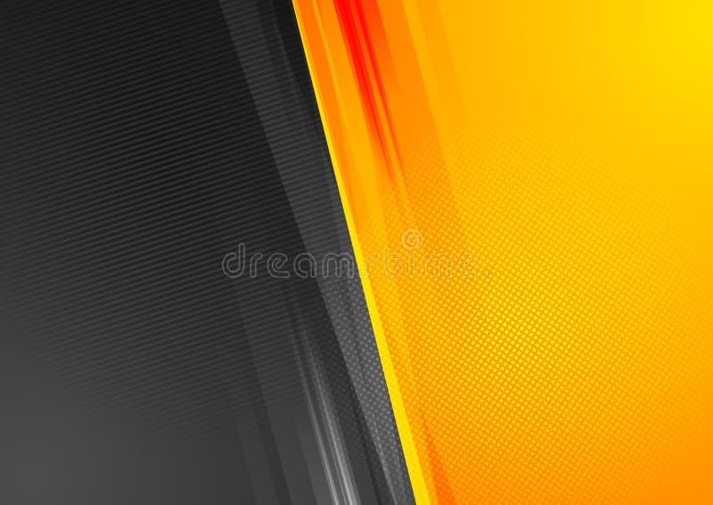 För techgrunge för apelsin och för svart abstrakt bakgrund royaltyfri illustrationer