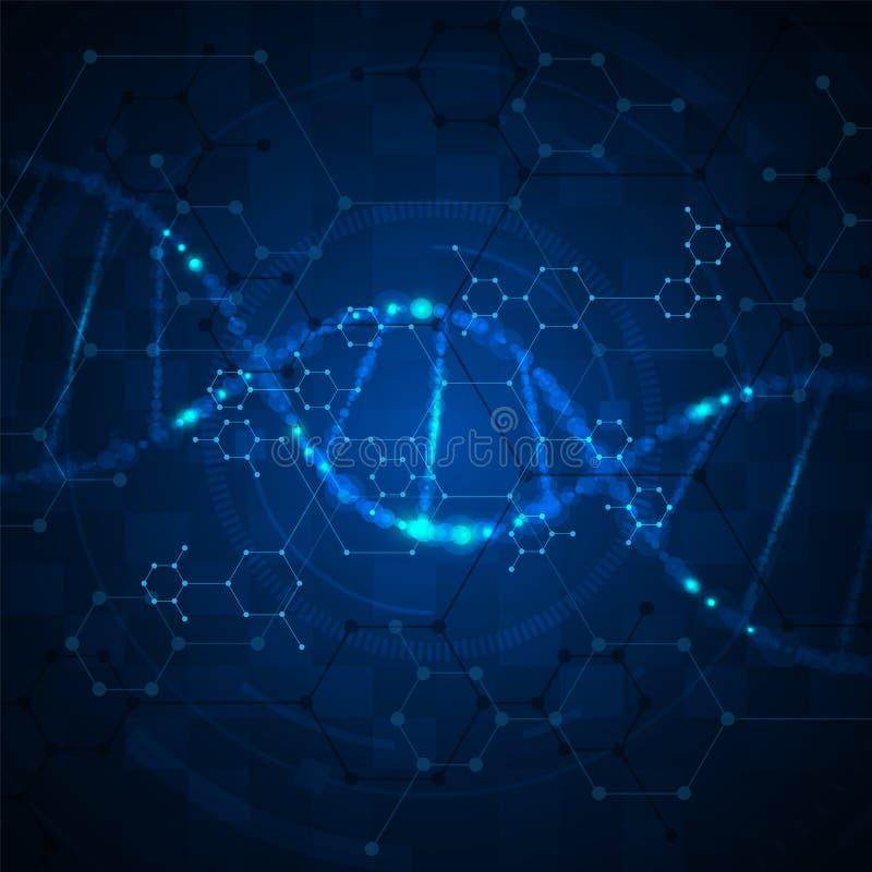 För techinnovation för abstrakt molekylärt nano begrepp vetenskaplig bakgrund stock illustrationer