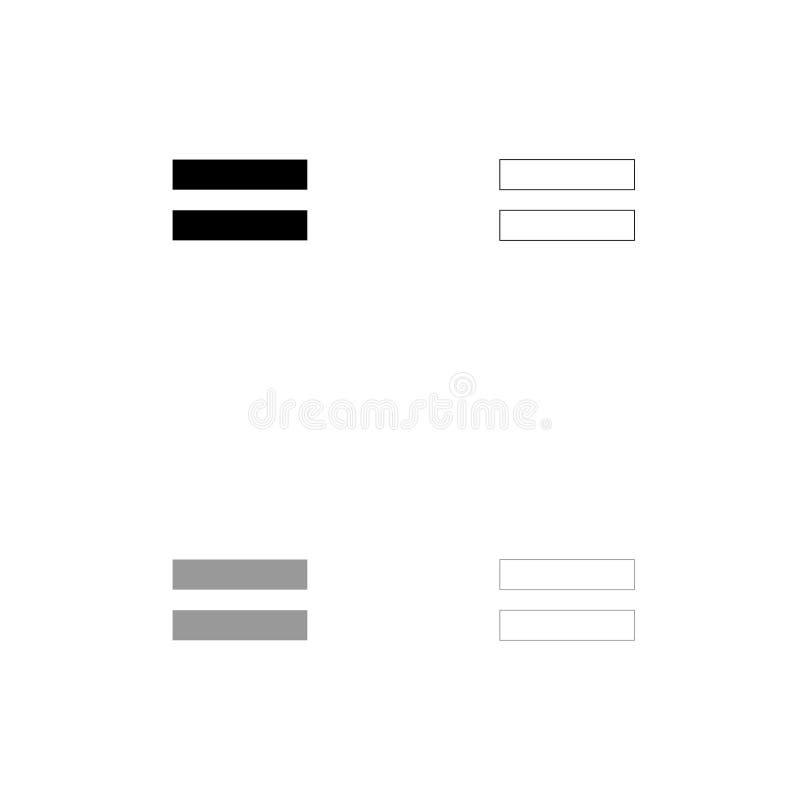 För tecken svart lika och fastställd symbol för grå färger vektor illustrationer