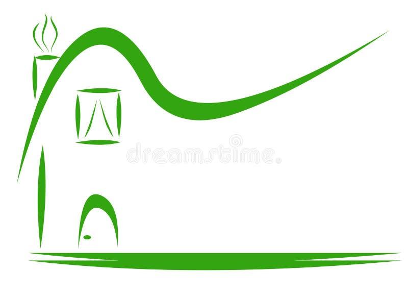 För teckengods för grönt hus logo royaltyfri foto