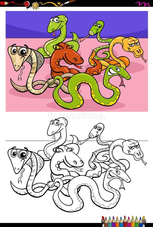 För teckengrupp för ormar djur bok för färg stock illustrationer