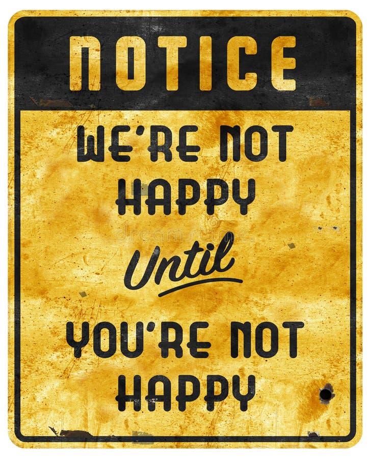För teckenman för Bad tjänste- slogan för motto för grotta inte lycklig royaltyfri foto