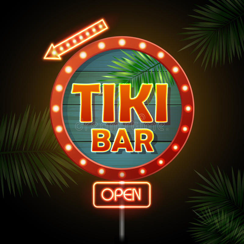 för teckenstadion för neon ny yankee Tiki stång royaltyfri illustrationer