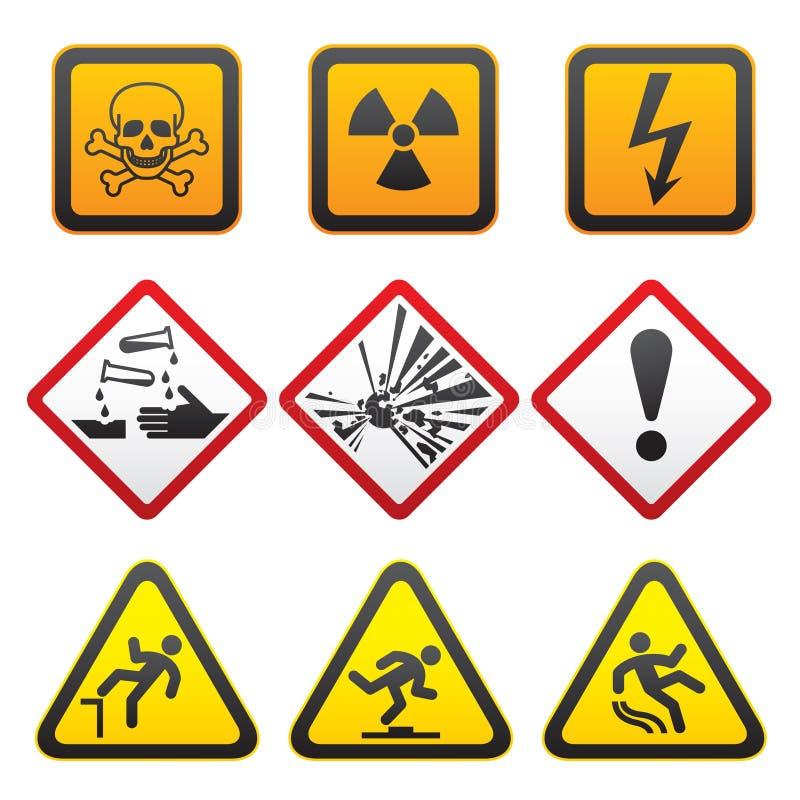 för teckensymboler för första fara set varna royaltyfri illustrationer