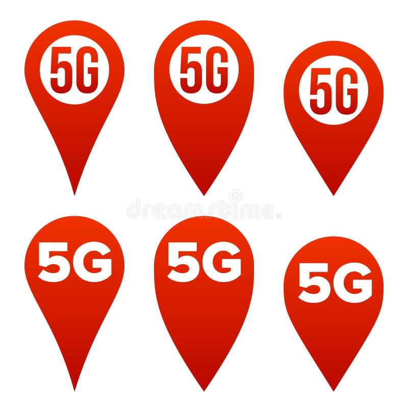 för teckenuppsättning för pekare 5G vektor Röd symbol Normal för internetWi-Fi anslutning Hastighetstecken Trådlös framtid för in vektor illustrationer
