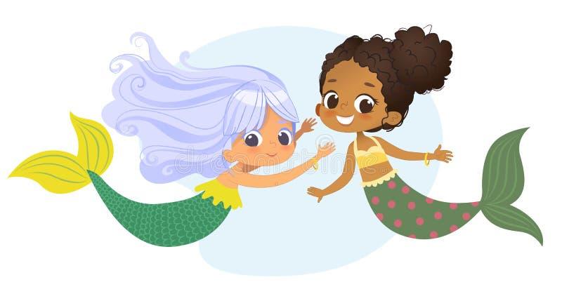 För teckenvän för sjöjungfru afrikansk Caucasian nymf Kvinnlig gullig mytologiprinsessa för ung undervattens- afrikansk amerikan vektor illustrationer