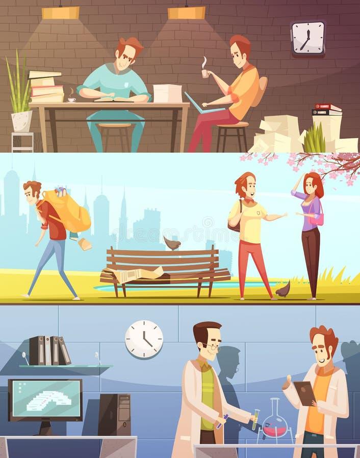 För tecknad filmbaner för studenter Retro uppsättning vektor illustrationer
