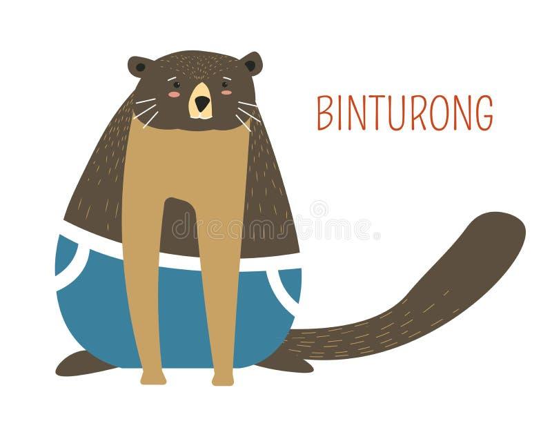 För tecknad filmbok för ledsen fet binturong barnsligt tecken royaltyfri illustrationer