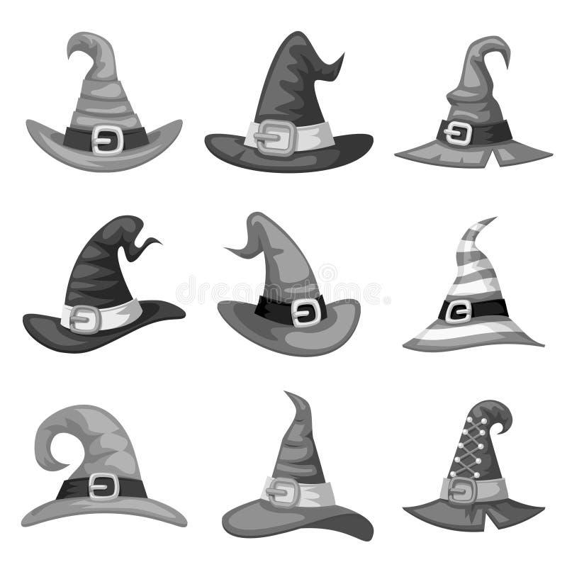 För tecknad filmhäxan för gråtonen redigerar fastställd tamplate för tomma för det halloween för hatten partiet symboler för dräk vektor illustrationer