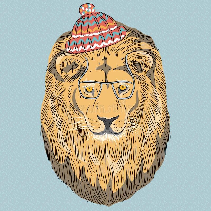 För tecknad filmhipster för vektor allvarligt lejon royaltyfri illustrationer