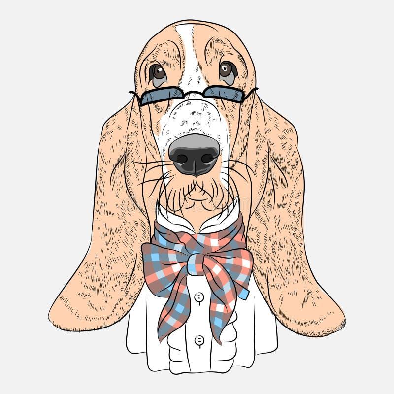 För tecknad filmhipster för vektor rolig hund Basset Hound stock illustrationer