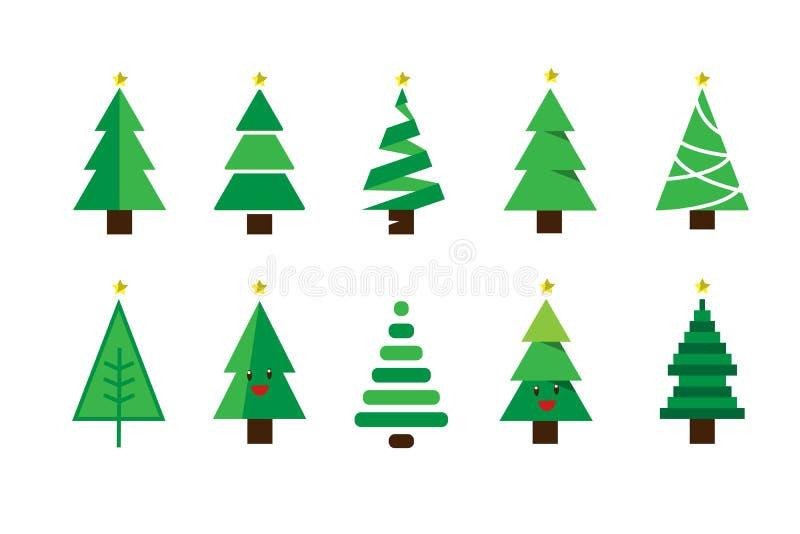 För tecknad filmjulgran för vinter färgrik uppsättning för vektor vektor illustrationer