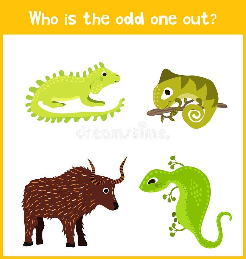 För tecknad filmlek för barn färgrik bildande sida för pussel för barns böcker och tidskrifter på temat av extra djurt fynd gulli royaltyfri illustrationer