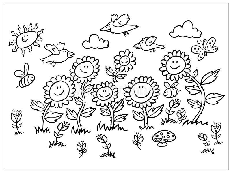 För för för tecknad filmsolrosor, fåglar och bin för vektor svartvit illustration Passande för kort eller att färga för hälsning stock illustrationer
