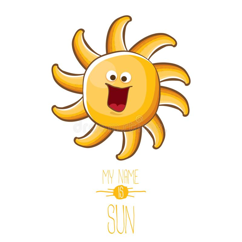 För tecknad filmstil för vektor som skraj tecken för sol för sommar isoleras på vit bakgrund Mitt namn är solbegreppsillustration vektor illustrationer