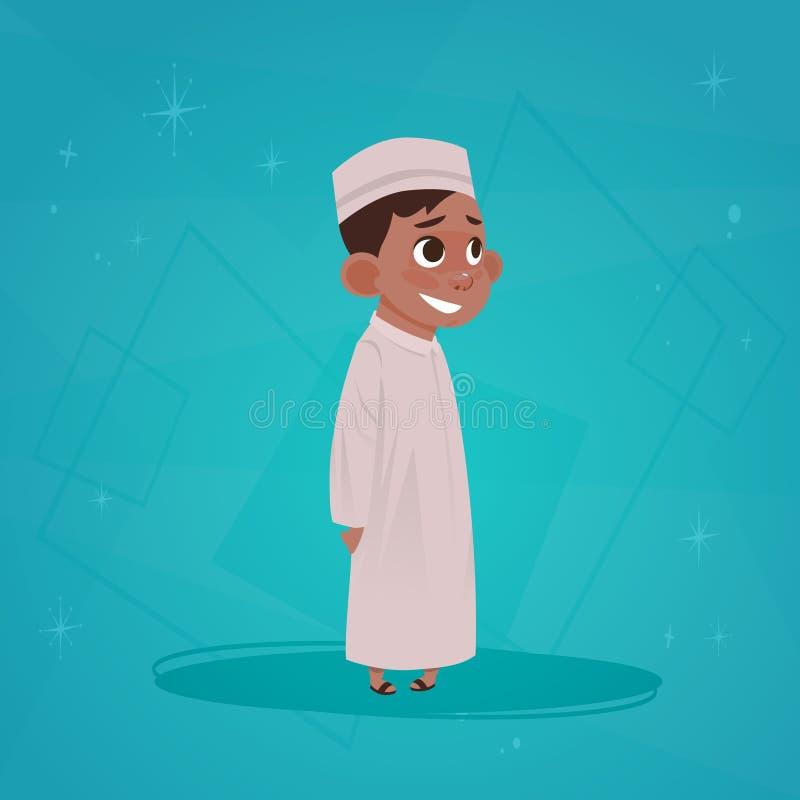 För tecknad filmtecken för arabisk pojke liten man för muselman stock illustrationer