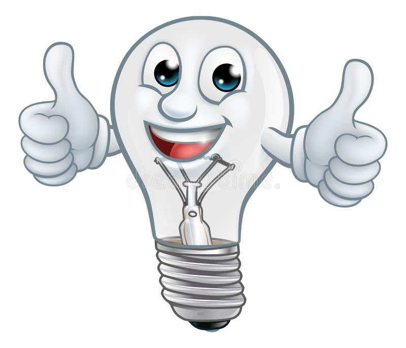 För tecknad filmtecken för ljus kula maskot för Lightbulb stock illustrationer