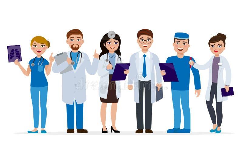 För tecknad filmtecken för medicinsk personal illustration för lägenhet för vektor Uppsättning av doktorer som isoleras på vit ba stock illustrationer