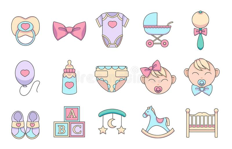 För tecknad filmvektor för hand ställer behandla som ett barn utdragna symboler in för att skapa infographicsen släkt barn och, s stock illustrationer