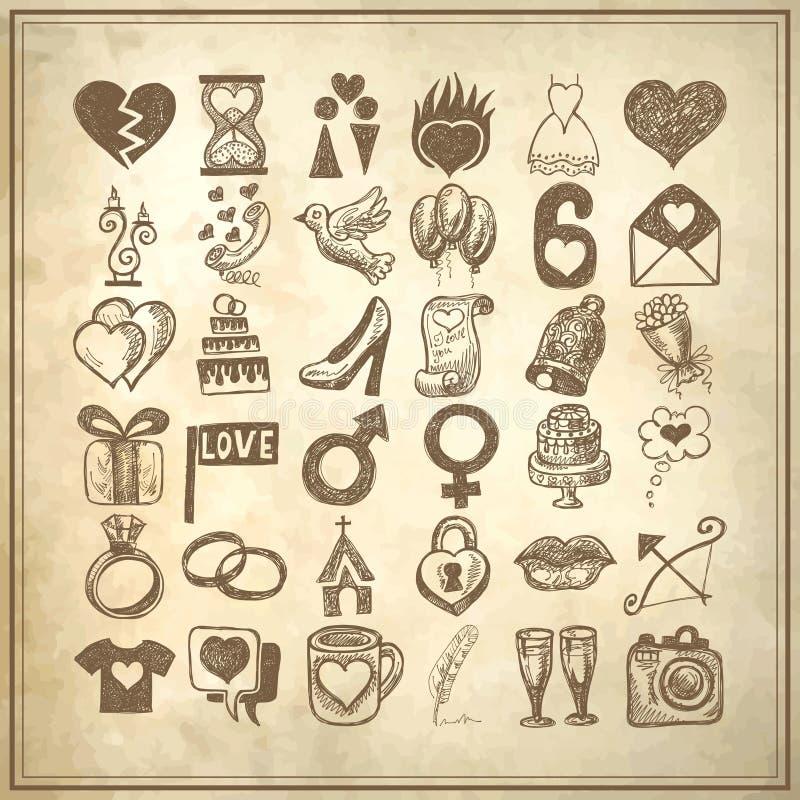för teckningsklotter för 36 hand uppsättning för symbol, knapphändigt bröllop stock illustrationer