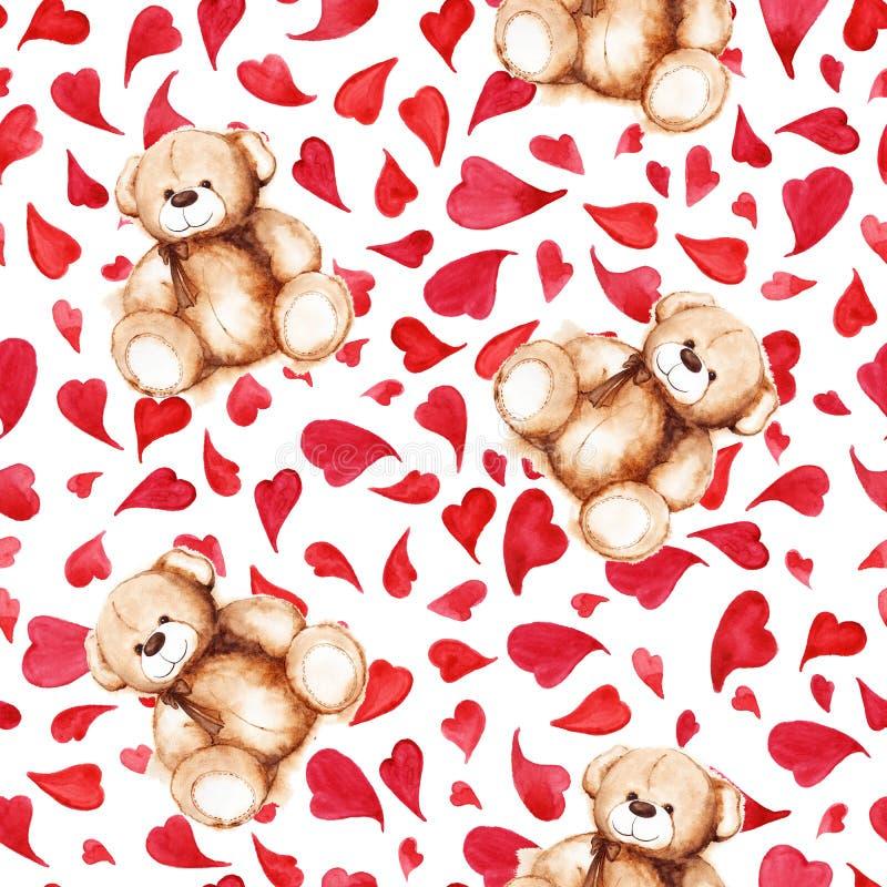 För Teddy Bear för tecknad film sömlös modell för älskvärd hjärta Sankt för valentin dag för ` s stock illustrationer
