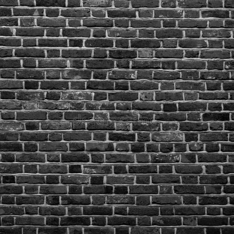För tegelstenvägg för gammal grunge svartvit bakgrund Abstrakt Brickwall texturslut upp Monokrom bakgrund Fyrkantig tapet eller royaltyfri bild