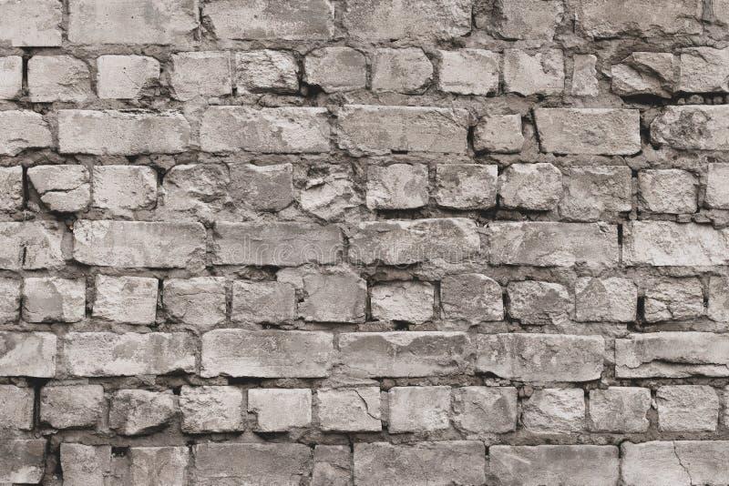 För tegelstenvägg för tappning grå textur Vit gammal cementv?ggbakgrund Modell med gråa förfallna tegelstenar Wal tom konkret gru arkivbilder